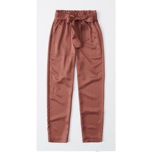 Satin Belted Taper Pants